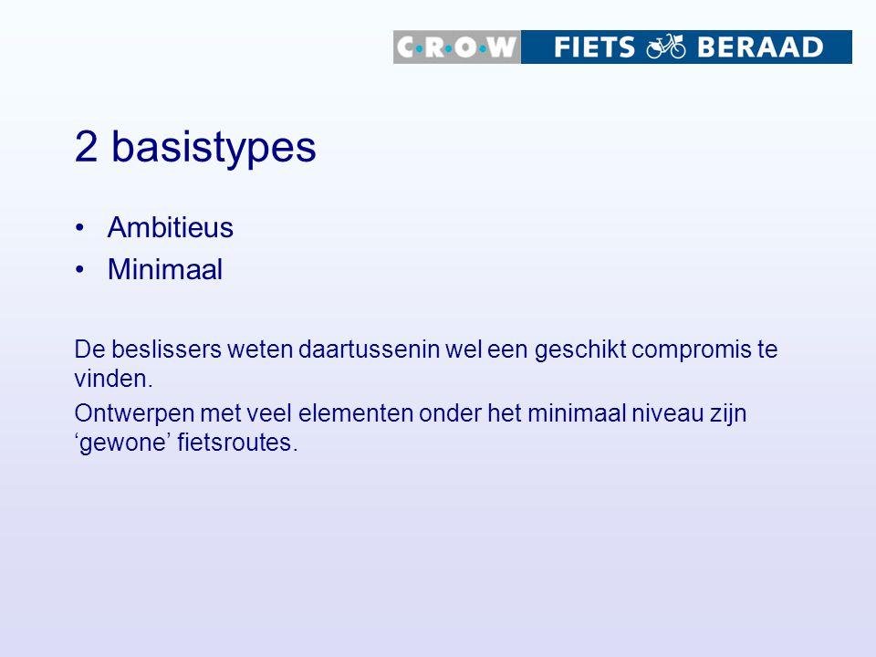2 basistypes Ambitieus Minimaal De beslissers weten daartussenin wel een geschikt compromis te vinden. Ontwerpen met veel elementen onder het minimaal