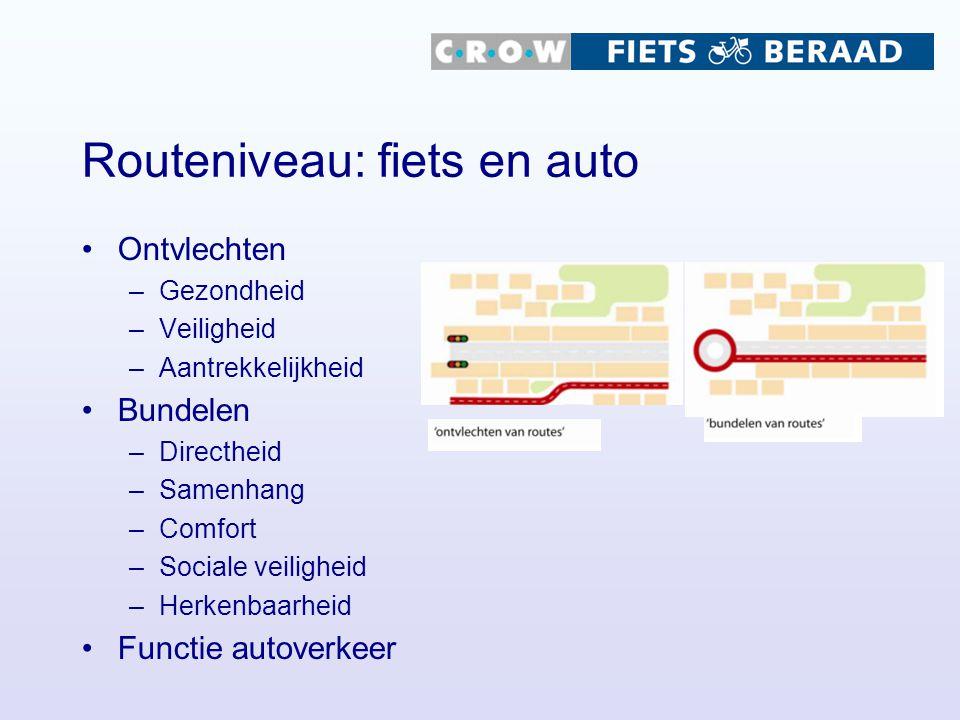 Routeniveau: fiets en auto Ontvlechten –Gezondheid –Veiligheid –Aantrekkelijkheid Bundelen –Directheid –Samenhang –Comfort –Sociale veiligheid –Herken