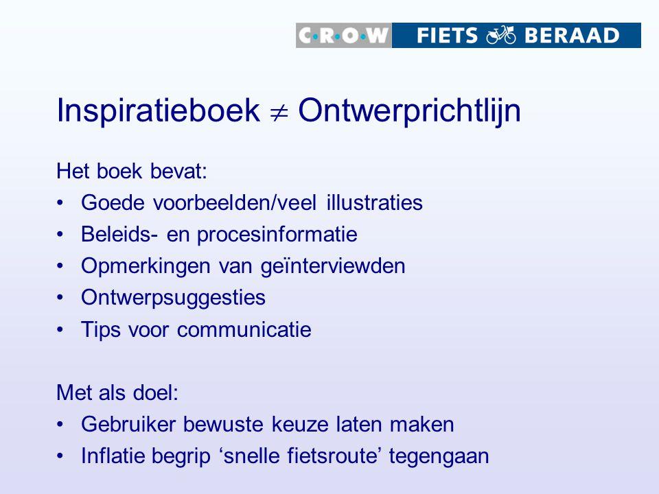 Inspiratieboek  Ontwerprichtlijn Het boek bevat: Goede voorbeelden/veel illustraties Beleids- en procesinformatie Opmerkingen van geïnterviewden Ontw