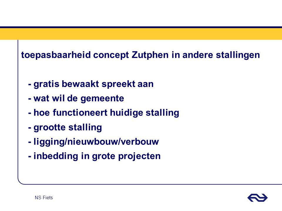 NS Fiets toepasbaarheid concept Zutphen in andere stallingen - gratis bewaakt spreekt aan - wat wil de gemeente - hoe functioneert huidige stalling -