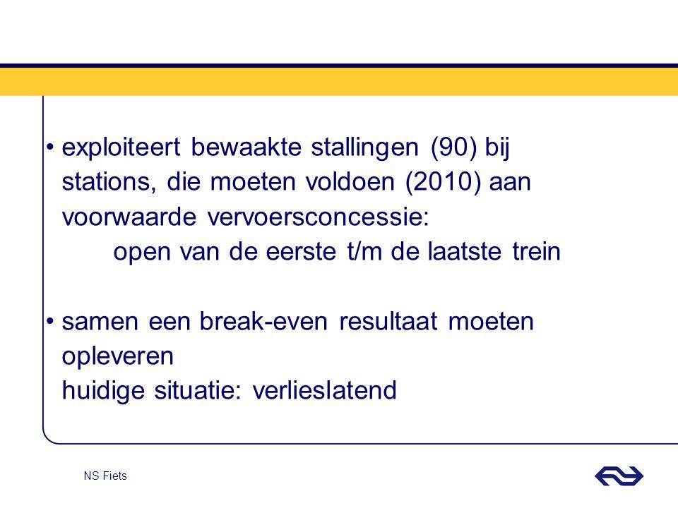 exploiteert bewaakte stallingen (90) bij stations, die moeten voldoen (2010) aan voorwaarde vervoersconcessie: open van de eerste t/m de laatste trein