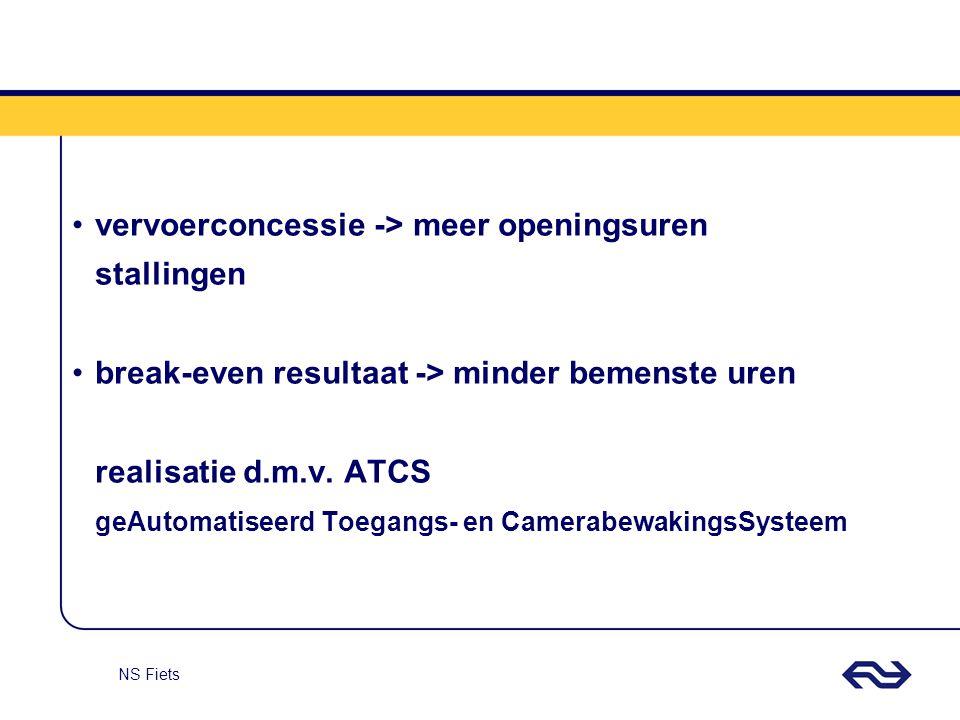 NS Fiets ATCS wordt gediffentieerd toegepast 4 categorieën stallingen V-ATCSgeen bemensingzeer kleine stallingen ATCS-spitsbemenst in spitskleine stallingen ATCS-dagbemenst in daguren middelgrote stallingen volledige bemensinggrote stallingen