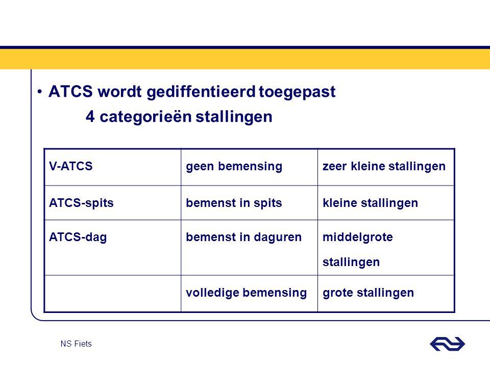 NS Fiets ATCS wordt gediffentieerd toegepast 4 categorieën stallingen V-ATCSgeen bemensingzeer kleine stallingen ATCS-spitsbemenst in spitskleine stal