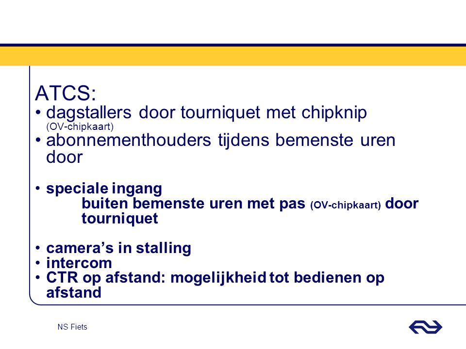 NS Fiets ATCS: dagstallers door tourniquet met chipknip (OV-chipkaart) abonnementhouders tijdens bemenste uren door speciale ingang buiten bemenste ur
