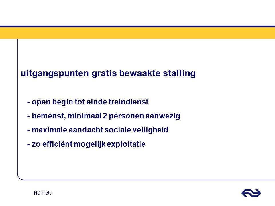 NS Fiets uitgangspunten gratis bewaakte stalling - open begin tot einde treindienst - bemenst, minimaal 2 personen aanwezig - maximale aandacht social
