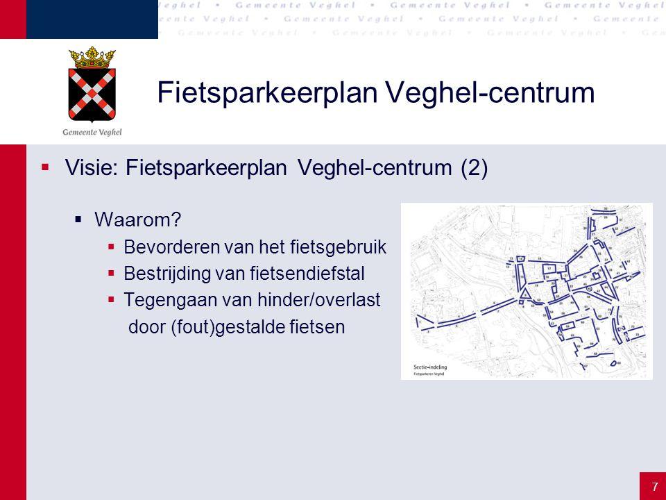 7 Fietsparkeerplan Veghel-centrum  Visie: Fietsparkeerplan Veghel-centrum (2)  Waarom?  Bevorderen van het fietsgebruik  Bestrijding van fietsendi
