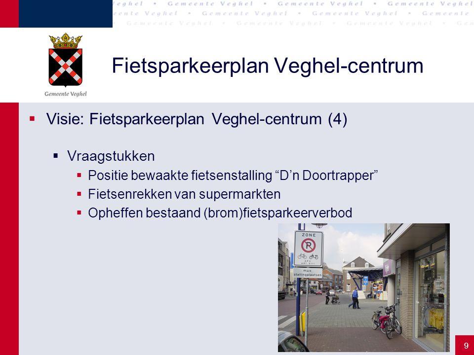 "9 Fietsparkeerplan Veghel-centrum  Visie: Fietsparkeerplan Veghel-centrum (4)  Vraagstukken  Positie bewaakte fietsenstalling ""D'n Doortrapper""  F"