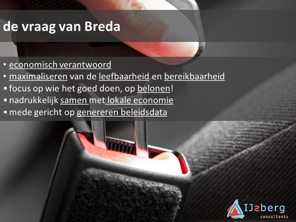 de vraag van Breda economisch verantwoord maximaliseren van de leefbaarheid en bereikbaarheid focus op wie het goed doen, op belonen! nadrukkelijk sam
