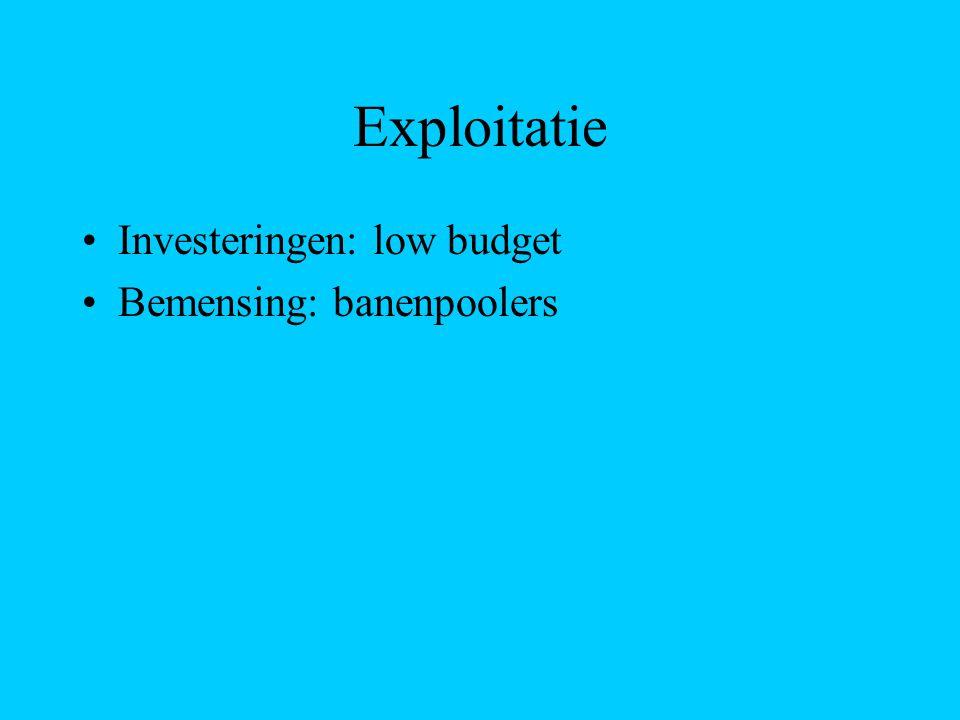 Exploitatie Investeringen: low budget Bemensing: banenpoolers