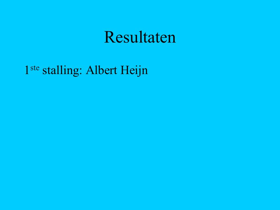 Resultaten 1 ste stalling: Albert Heijn