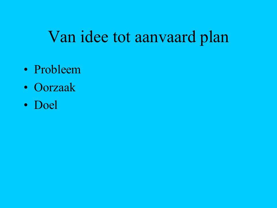 Van idee tot aanvaard plan Probleem Oorzaak Doel