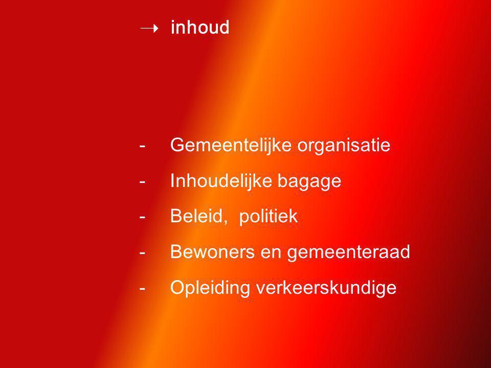  inhoud -Gemeentelijke organisatie -Inhoudelijke bagage -Beleid, politiek -Bewoners en gemeenteraad -Opleiding verkeerskundige