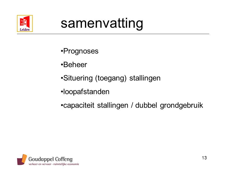 13 samenvatting Prognoses Beheer Situering (toegang) stallingen loopafstanden capaciteit stallingen / dubbel grondgebruik