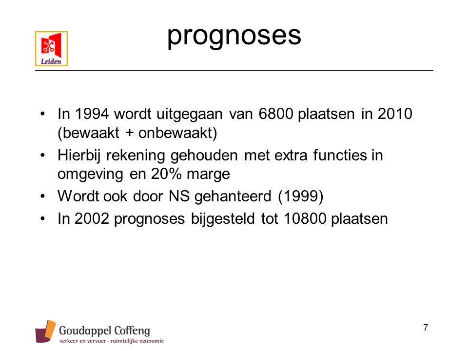 7 prognoses In 1994 wordt uitgegaan van 6800 plaatsen in 2010 (bewaakt + onbewaakt) Hierbij rekening gehouden met extra functies in omgeving en 20% marge Wordt ook door NS gehanteerd (1999) In 2002 prognoses bijgesteld tot 10800 plaatsen