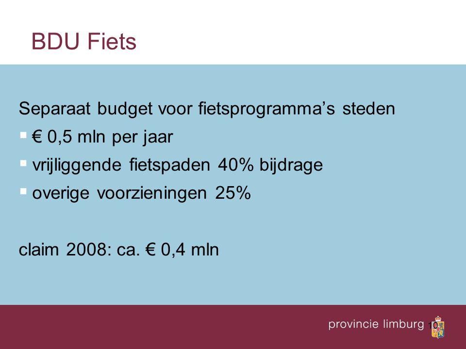 10 BDU Fiets Separaat budget voor fietsprogramma's steden  € 0,5 mln per jaar  vrijliggende fietspaden 40% bijdrage  overige voorzieningen 25% clai