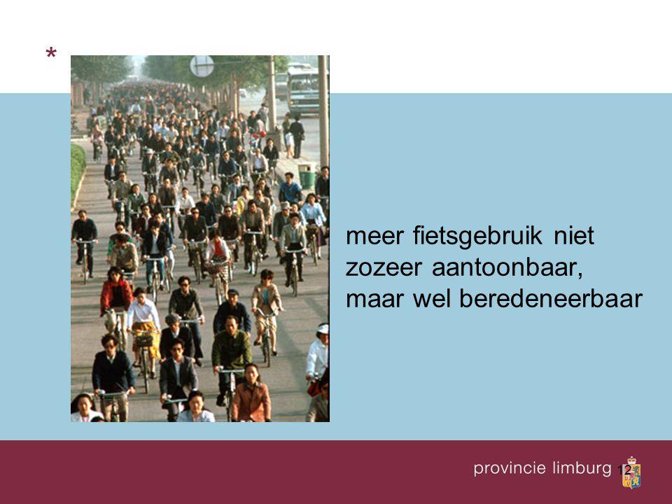 12 * meer fietsgebruik niet zozeer aantoonbaar, maar wel beredeneerbaar