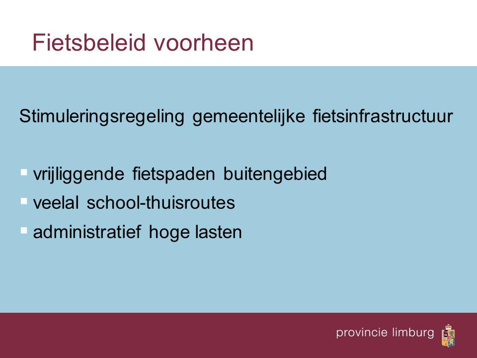 6 Integrale fietsprogramma's  opstellen fietsplan  (hoofd)fietsinfrastructuur  fietsparkeervoorzieningen  communicatie/promotie van de fiets als vervoer- middel