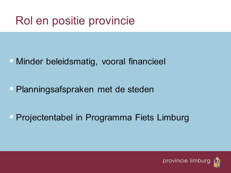 9 Rol en positie provincie  Minder beleidsmatig, vooral financieel  Planningsafspraken met de steden  Projectentabel in Programma Fiets Limburg