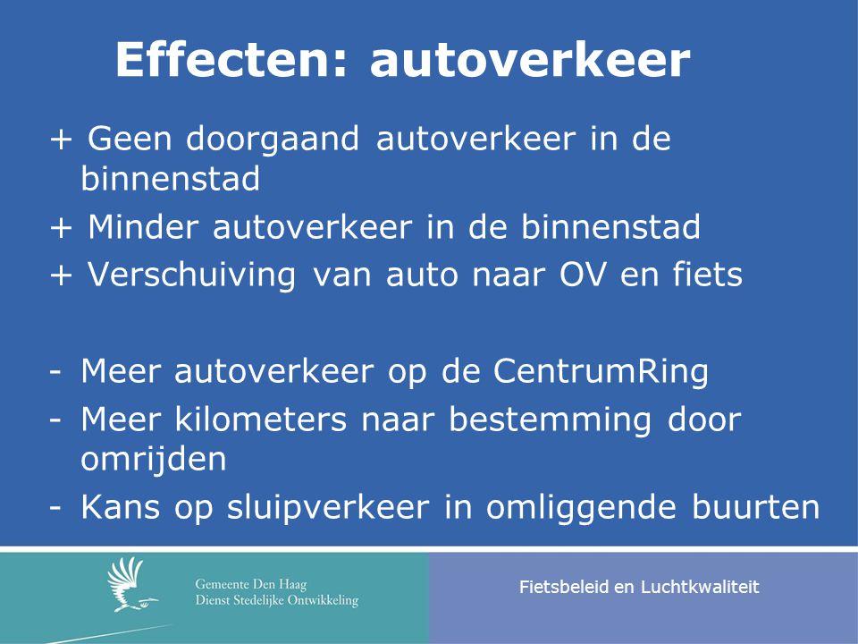 Fietsbeleid en Luchtkwaliteit + Geen doorgaand autoverkeer in de binnenstad + Minder autoverkeer in de binnenstad + Verschuiving van auto naar OV en f
