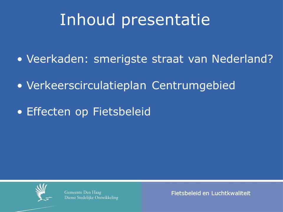 Inhoud presentatie Fietsbeleid en Luchtkwaliteit Veerkaden: smerigste straat van Nederland? Verkeerscirculatieplan Centrumgebied Effecten op Fietsbele