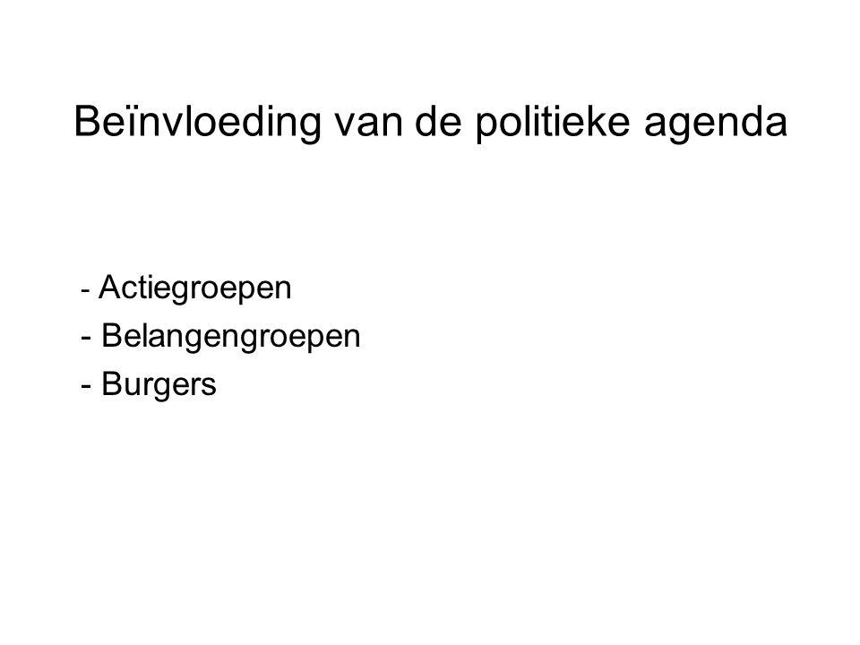 Beïnvloeding van de politieke agenda - Actiegroepen - Belangengroepen - Burgers