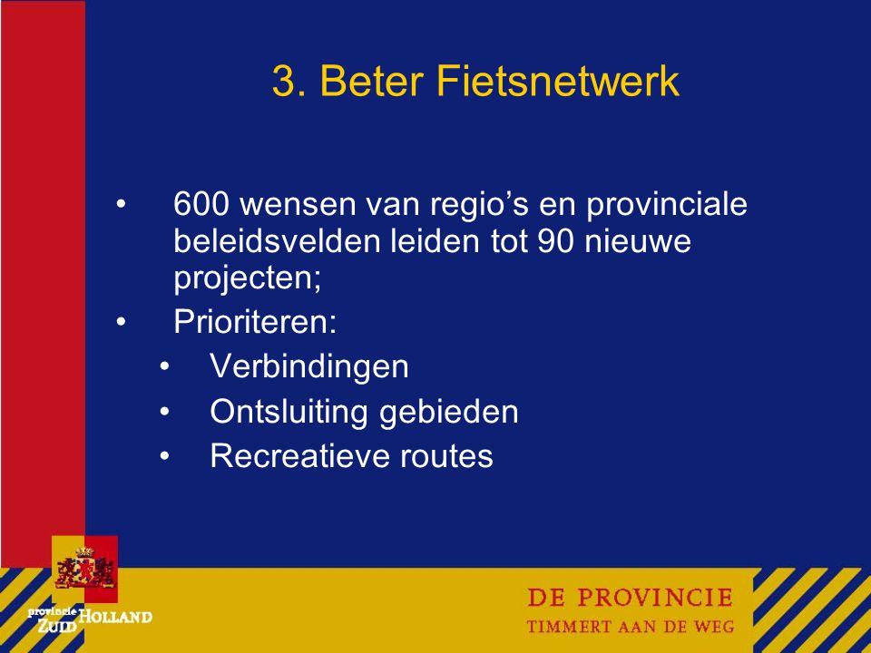 3. Beter Fietsnetwerk 600 wensen van regio's en provinciale beleidsvelden leiden tot 90 nieuwe projecten; Prioriteren: Verbindingen Ontsluiting gebied