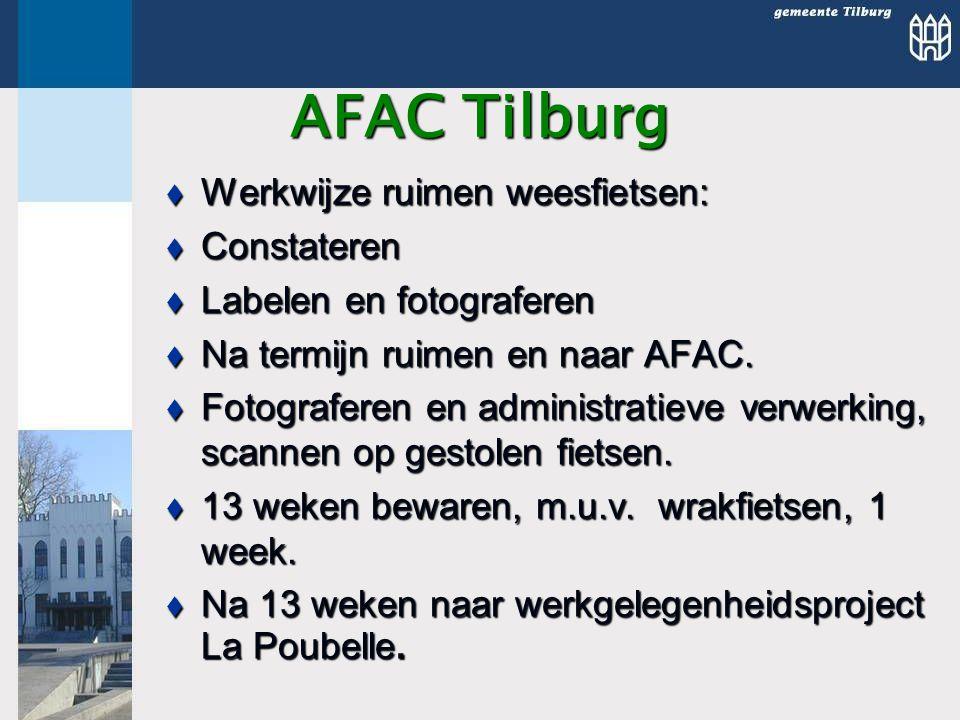 AFAC Tilburg  Werkwijze ruimen weesfietsen:  Constateren  Labelen en fotograferen  Na termijn ruimen en naar AFAC.