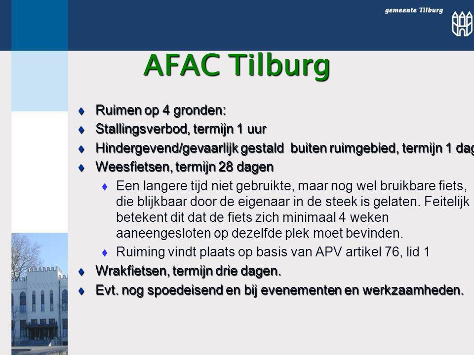 AFAC Tilburg  Ruimen op 4 gronden:  Stallingsverbod, termijn 1 uur  Hindergevend/gevaarlijk gestald buiten ruimgebied, termijn 1 dag  Weesfietsen, termijn 28 dagen   Een langere tijd niet gebruikte, maar nog wel bruikbare fiets, die blijkbaar door de eigenaar in de steek is gelaten.