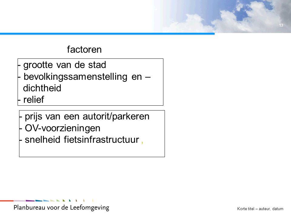 13 Korte titel – auteur, datum - grootte van de stad - bevolkingssamenstelling en – dichtheid - relief - prijs van een autorit/parkeren - OV-voorzieningen - snelheid fietsinfrastructuur, factoren