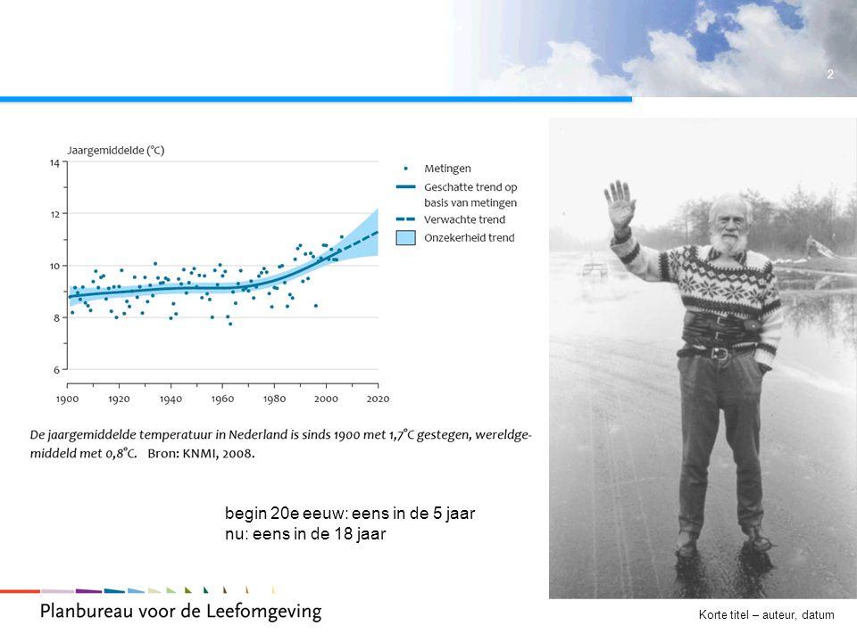 3 Korte titel – auteur, datum klimaatbeleid  1992 - klimaatverdrag VN, geen bindende afspraken  1997 – Kyotoprotocol, bindende afspraken voor geindustrialiseerde landen: 2012 ruim 5 % emissiereductie t.o.v.