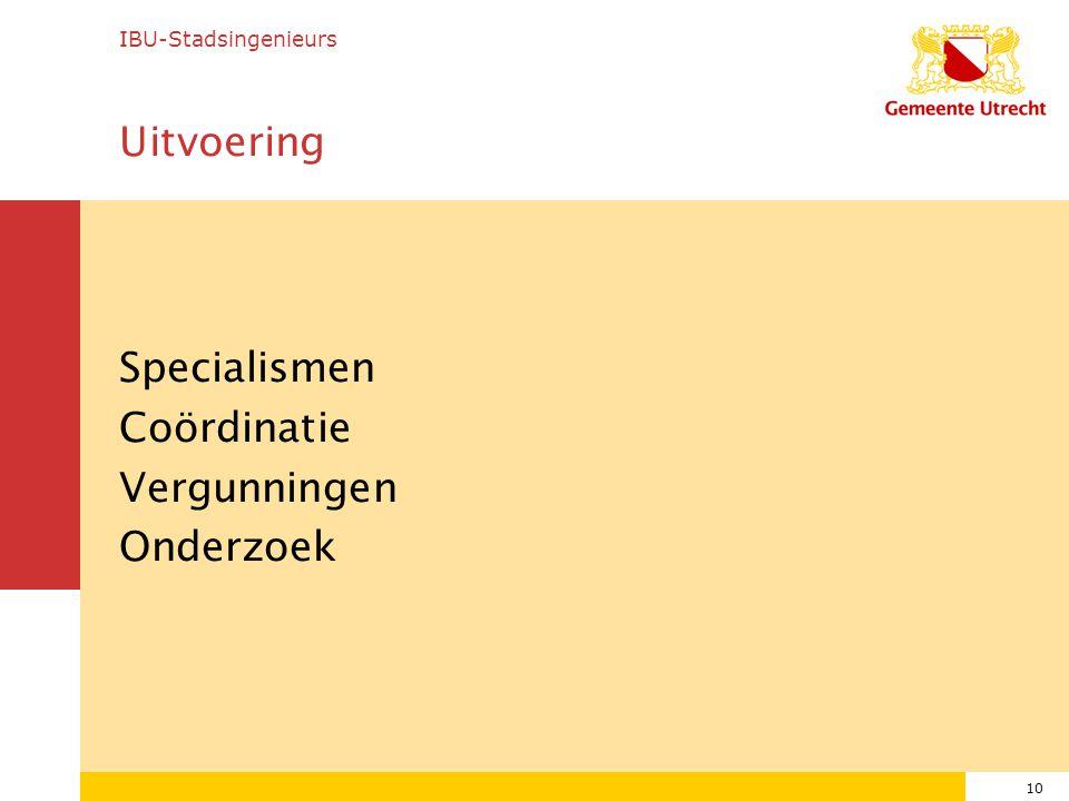 10 Uitvoering Specialismen Coördinatie Vergunningen Onderzoek IBU-Stadsingenieurs