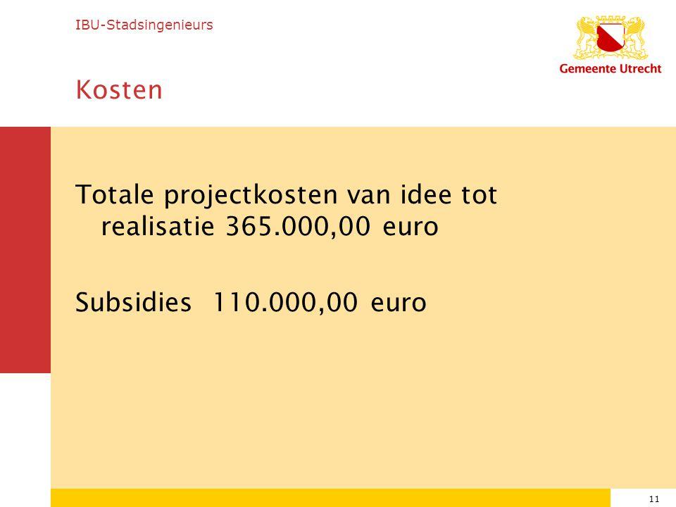 11 Kosten Totale projectkosten van idee tot realisatie 365.000,00 euro Subsidies 110.000,00 euro IBU-Stadsingenieurs