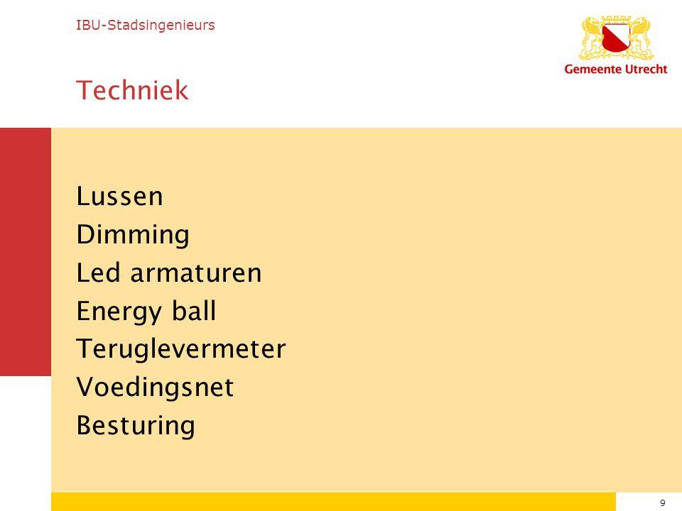 9 Techniek Lussen Dimming Led armaturen Energy ball Teruglevermeter Voedingsnet Besturing IBU-Stadsingenieurs