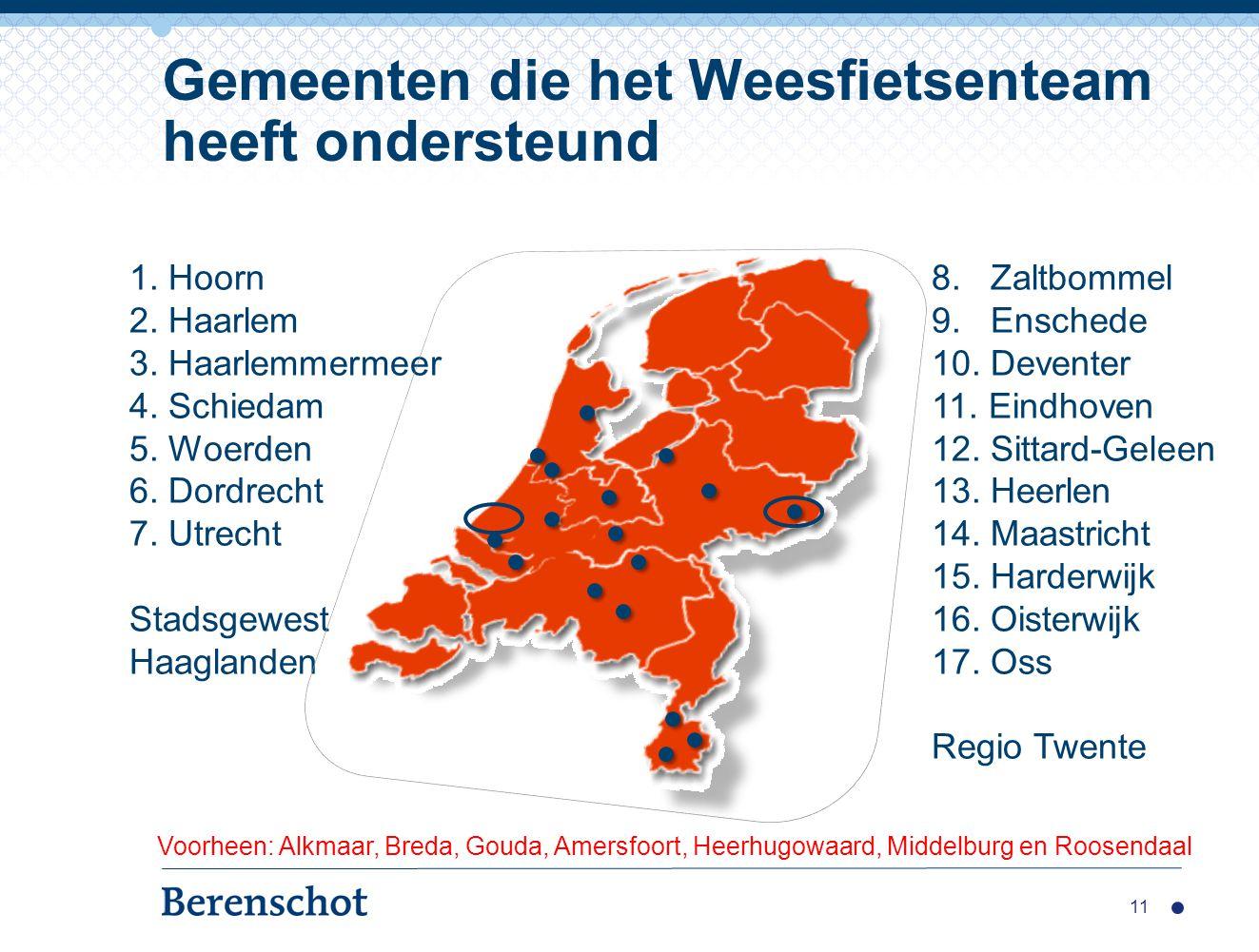 Gemeenten die het Weesfietsenteam heeft ondersteund 11 1. Hoorn 2. Haarlem 3. Haarlemmermeer 4. Schiedam 5. Woerden 6. Dordrecht 7. Utrecht Stadsgewes