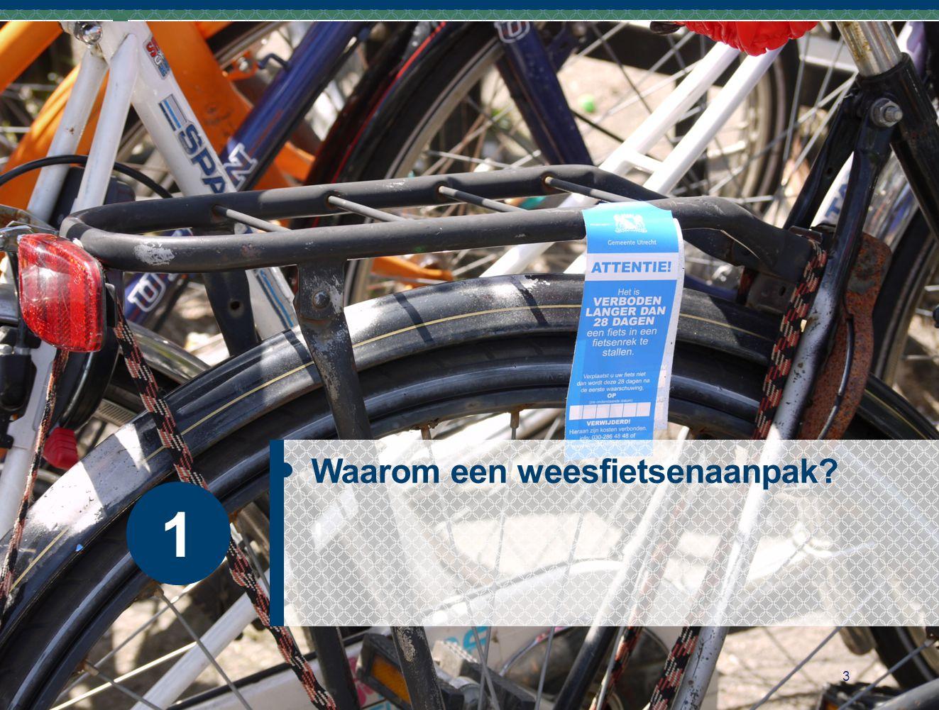 Handhaving richt zich op fietswrakken, fout gestalde fietsen én steeds vaker ook op weesfietsen Gebruiksklare fietsen die in de openbare ruimte gestald zijn, maar al langere tijd niet meer gebruikt zijn 10-20% van de gestalde fietsen zijn weesfietsen Verwijderen van weesfietsen moet in de APV geregeld zijn 4 Waarom een weesfietsenaanpak?
