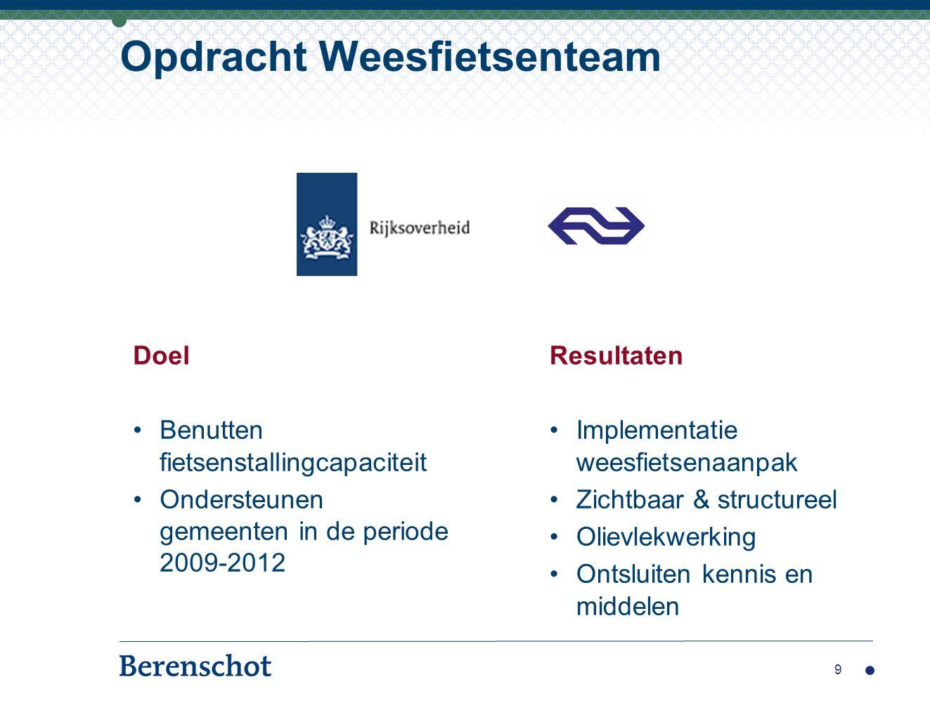 Opdracht Weesfietsenteam Resultaten Implementatie weesfietsenaanpak Zichtbaar & structureel Olievlekwerking Ontsluiten kennis en middelen 9 Doel Benut