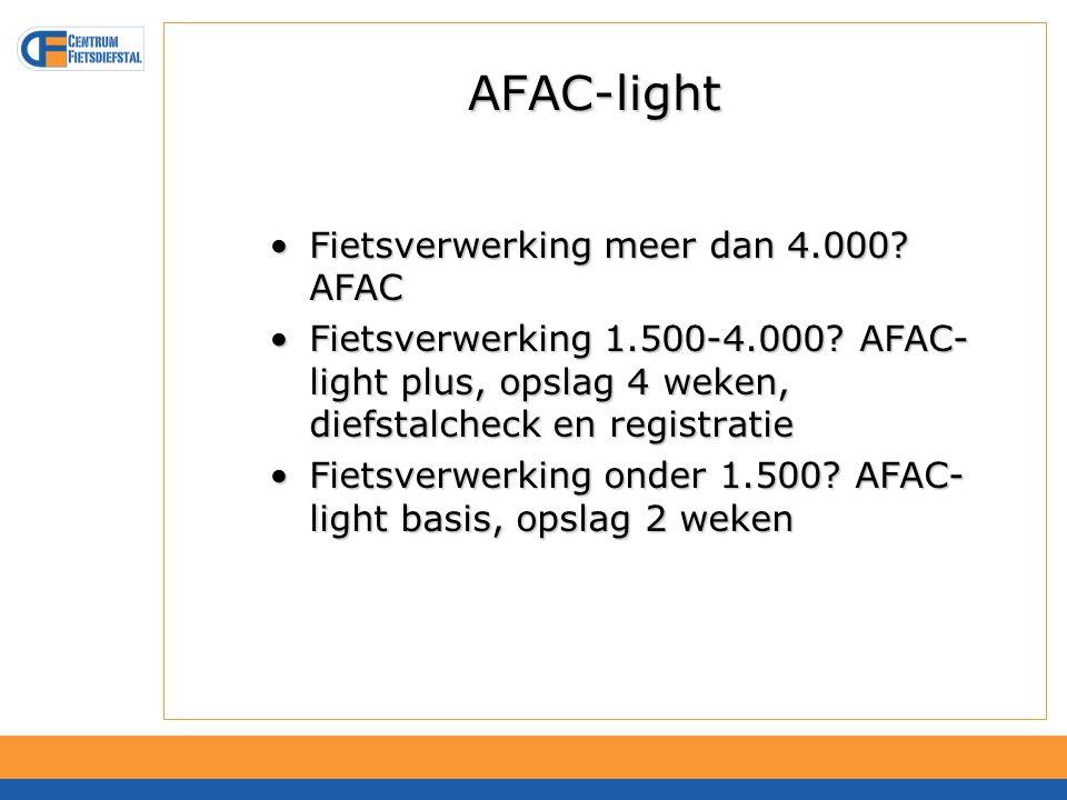 AFAC-light Fietsverwerking meer dan 4.000. AFACFietsverwerking meer dan 4.000.