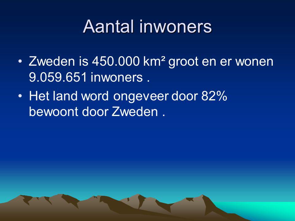 Aantal inwoners Zweden is 450.000 km² groot en er wonen 9.059.651 inwoners. Het land word ongeveer door 82% bewoont door Zweden.