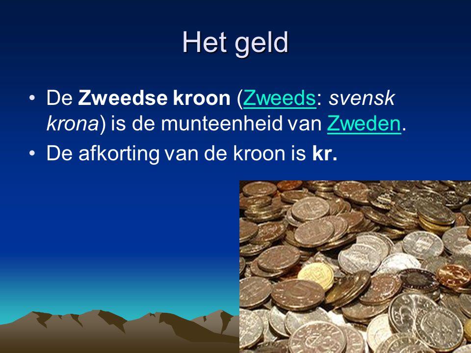 Het geld De Zweedse kroon (Zweeds: svensk krona) is de munteenheid van Zweden.ZweedsZweden De afkorting van de kroon is kr.