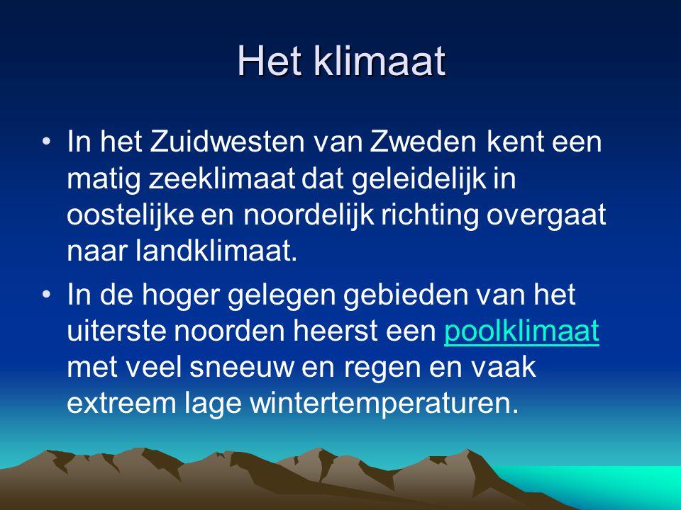 Het klimaat In het Zuidwesten van Zweden kent een matig zeeklimaat dat geleidelijk in oostelijke en noordelijk richting overgaat naar landklimaat. In