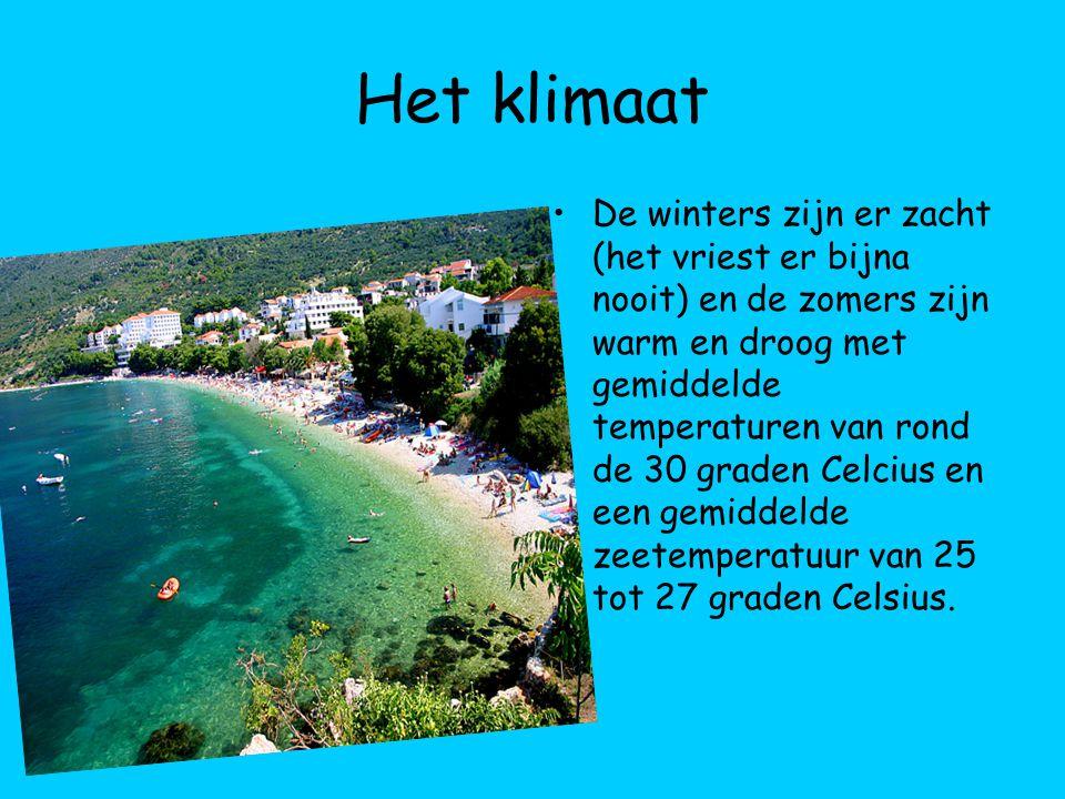 Het klimaat De winters zijn er zacht (het vriest er bijna nooit) en de zomers zijn warm en droog met gemiddelde temperaturen van rond de 30 graden Cel