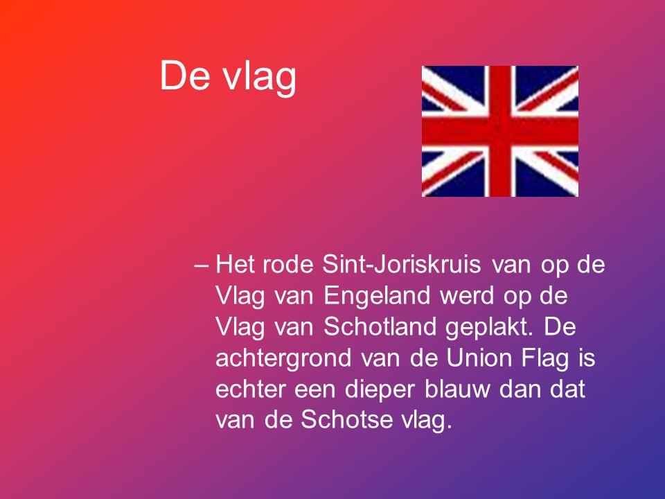 De vlag –Het rode Sint-Joriskruis van op de Vlag van Engeland werd op de Vlag van Schotland geplakt. De achtergrond van de Union Flag is echter een di