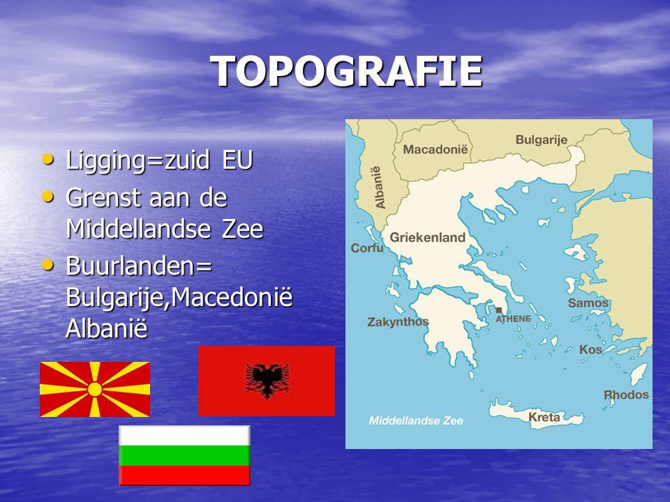 TOPOGRAFIE Ligging=zuid EU Ligging=zuid EU Grenst aan de Middellandse Zee Grenst aan de Middellandse Zee Buurlanden= Bulgarije,Macedonië Albanië Buurl