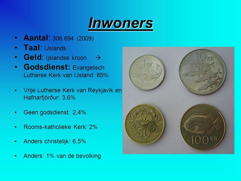 Inwoners Aantal: 306.694 (2009) Taal: IJslands Geld: Ijslandse kroon  Godsdienst: Evangelisch Lutherse Kerk van IJsland: 85% Vrije Lutherse Kerk van