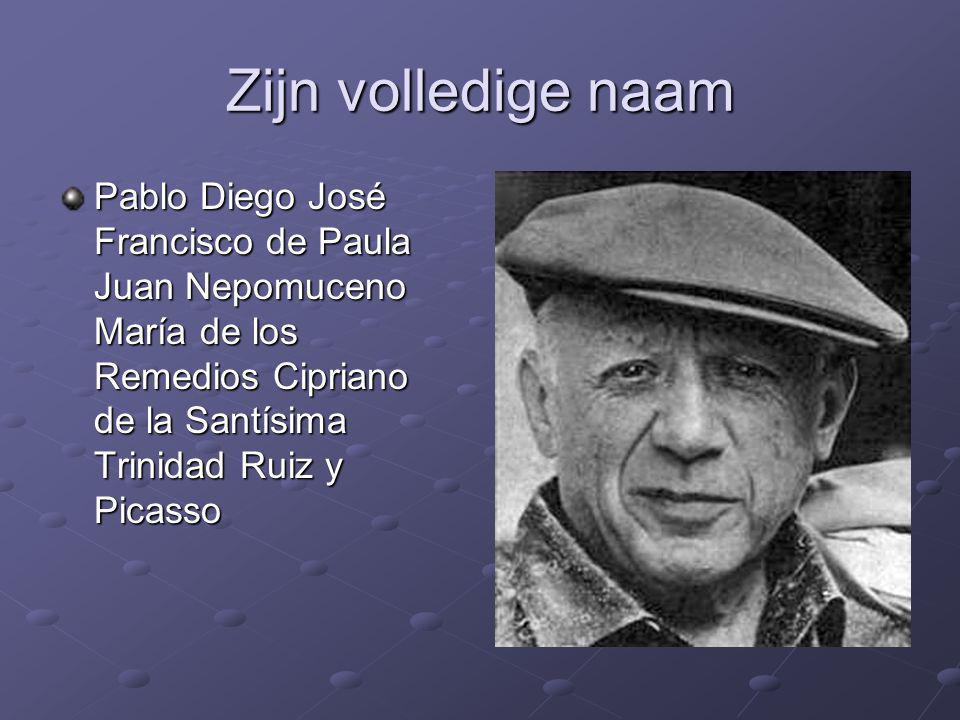 Zijn volledige naam Pablo Diego José Francisco de Paula Juan Nepomuceno María de los Remedios Cipriano de la Santísima Trinidad Ruiz y Picasso