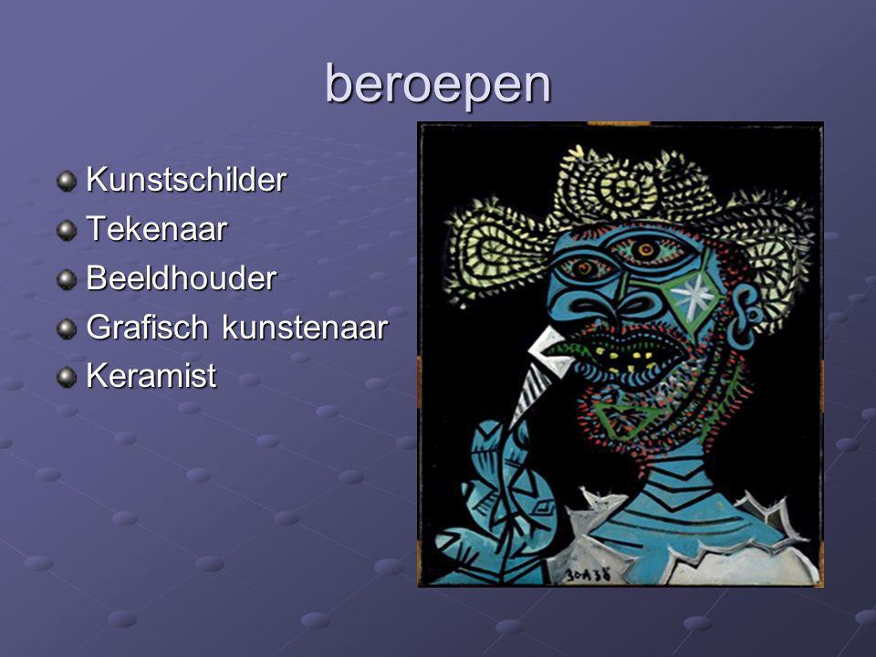 beroepen KunstschilderTekenaarBeeldhouder Grafisch kunstenaar Keramist
