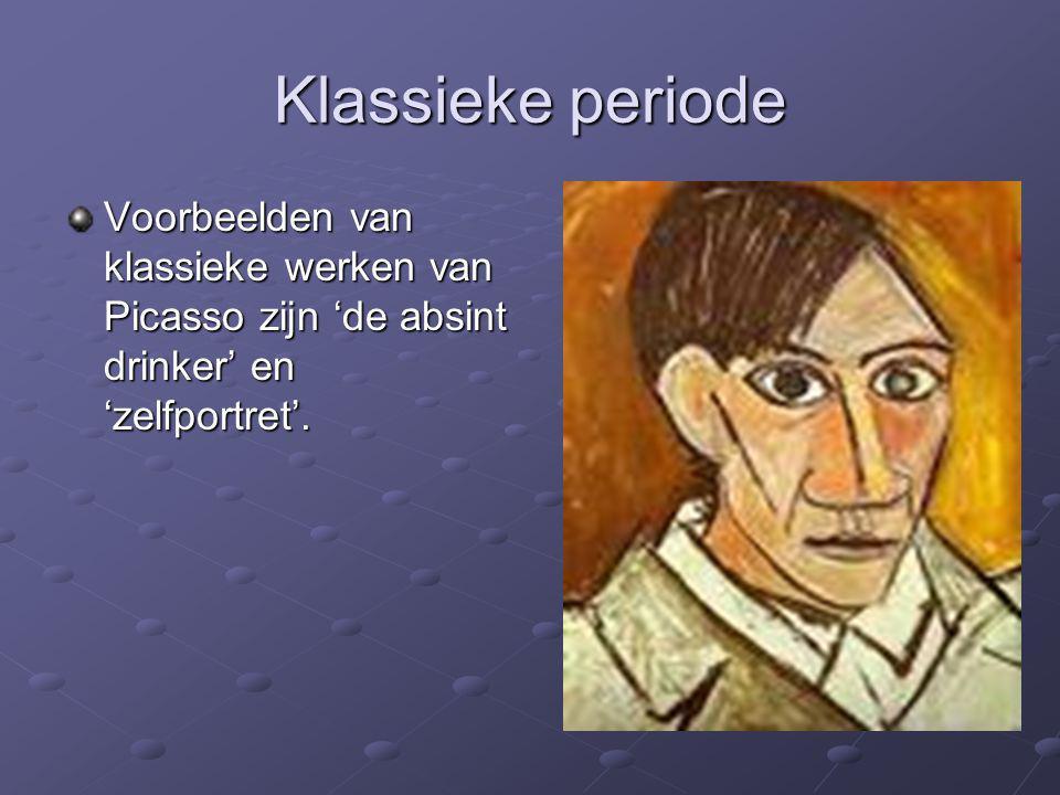 Klassieke periode Voorbeelden van klassieke werken van Picasso zijn 'de absint drinker' en 'zelfportret'.