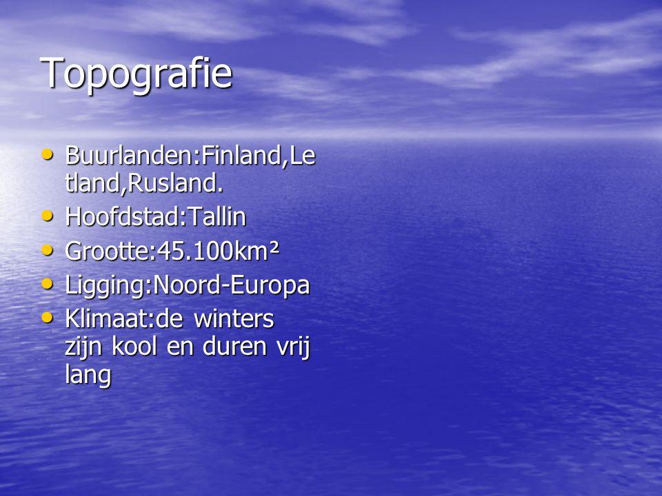 Topografie Buurlanden:Finland,Le tland,Rusland.Buurlanden:Finland,Le tland,Rusland.