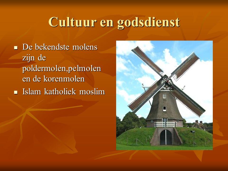 Cultuur en godsdienst De bekendste molens zijn de poldermolen,pelmolen en de korenmolen De bekendste molens zijn de poldermolen,pelmolen en de korenmo