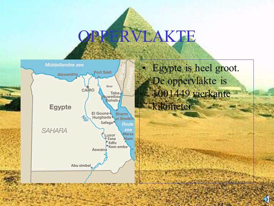 OPPERVLAKTE Egypte is heel groot. De oppervlakte is 1001449 vierkante kilometer